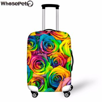 WHOSEPET Women Colorful Rose Flower Thick Elastic Dustproof luggage Protective Covers for 18-30 Inch Travel Case Cover Zipper