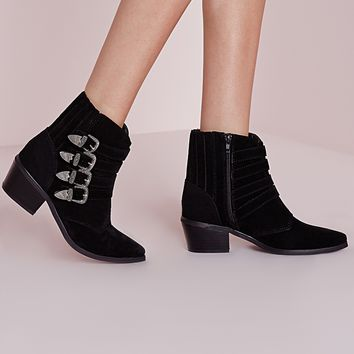 Missguided - Western Buckle Ankle Boots Black