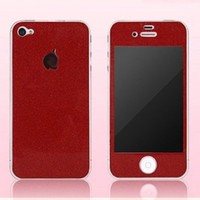 Highsound Flash Shiny Screen Full Body Protector Sticker Cover Film Case for iPhone 4 4S Red