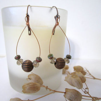 Beaded Wire Earrings  Hoop by 636designs on Etsy