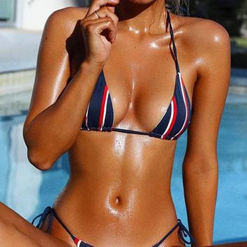 World Is My Oyster Blue Vertical Stripe Pattern Triangle Top Brazilian Bottom Two Piece Bikini Swimsuit