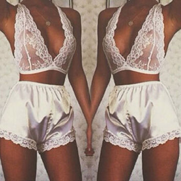 Plunge Lace Bralette and Silk Bottoms