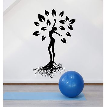 Vinyl Wall Decal Yoga Meditation Pose Tree Nature Health And Beauty Stickers (3101ig)