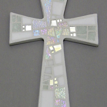 "Mosaic Wall Cross, Shades of White + Iridescent Glass + Silver Mirror, Handmade Stained Glass Mosaic Cross, 12"" x 8"""
