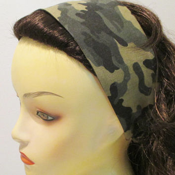 Reversible Wide Fabric Headband Camo Headband Army Headband Military Camouflage