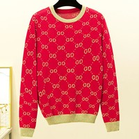 GUCCI New fashion more letter print long sleeve top women Red