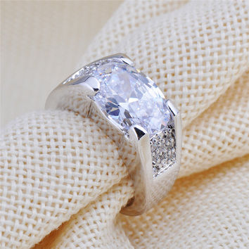 Size 6-12 White Sapphire Vintage Jewelry Men/Women Silver Ring Anel Aneis Wedding Band White CZ Gold Filled Engagement Rings