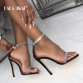 LALA IKAI Sexy Party Sandals Women High Heels Crystal Buckle Strap Summer Transparent Shoes Ladies Sandalie Female 014C3355-4