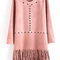 Pink Long Sleeve Fringed Mini Shift Dress with Beads