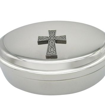 Celtic Design Large Cross Pendant Oval Trinket Jewelry Box