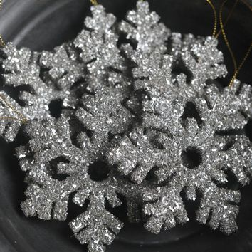 Snowflake Ornament - Silver German Glass Glitter Christmas Decoration