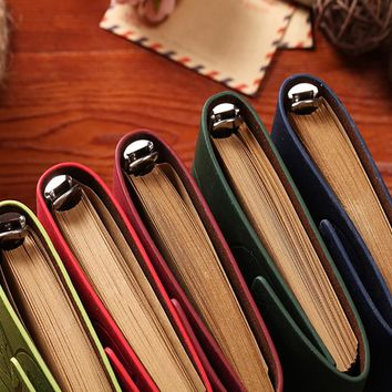 2016 A5 new vintage style note book Retro Leather Notebook with Cover Blank Leaf pendant Journal Diary