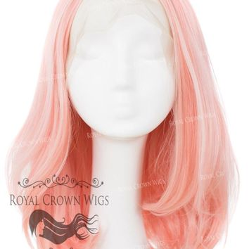 "17 inch Heat Safe Synthetic Lace Front ""Victoria"" Bob with Straight Texture in Pink with Blonde Highlights"