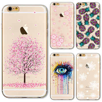 Soft TPU Case Cover For Apple iPhone 5 5S SE 6 6S 6Plus 6S+ 7 7+ Cases Phone Shell Pretty Painting Cherry Blossoms Brilliant