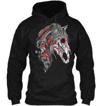 Cute Sugar Skull Horse  Day of the Dead  Pullover Hoodie 8 oz