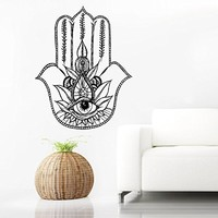 Wall Decal Vinyl Sticker Decals Home Decor Hamsa Hand Fatima Yoga Mandala Fish Eye Indian Buddha Ganesh Lotus Floral Pattern Namaste Bedroom (6140)