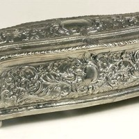 Metal Jewelry Box in Silver Finish