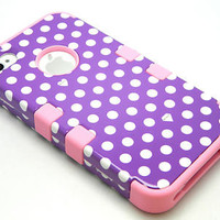 iPhone 4 4S Hybrid Tuff Purple/White Polka Dots Hard Case+Baby Pink Skin Cover