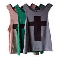 Grey Color with Cross Pattern Cotton Vest [711]