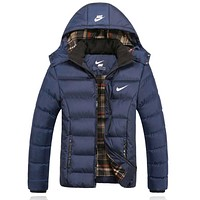 """NIKE"" Women Men Fashion Long Sleeve Cardigan Bread Down Coat Cotton-padded Clothes Jacket Blue"