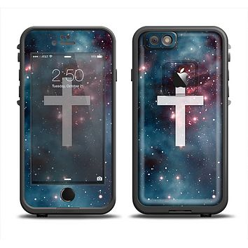 The Vector White Cross v2 over Bright Pink Nebula Space Apple iPhone 6 LifeProof Fre Case Skin Set