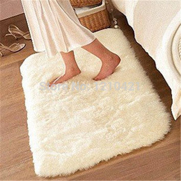 1pcs free shipping 80cmx120cm Super Soft Solid Color White Carpet/Floor Rug/ Living room carpet/Area Rug