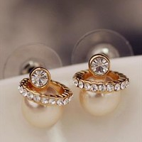 Pearl with CZ Ring Earrings 061021 from topsales