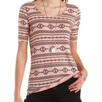 Tribal Print High-Low Tunic Tee by Charlotte Russe - Peach Combo
