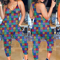 Gucci Jumpsuit Double G Colorful print Star Vest Trouse pants Jumping Candy Series Romper