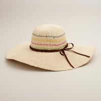 Natural Sunhat with Multicolored Stripe - World Market