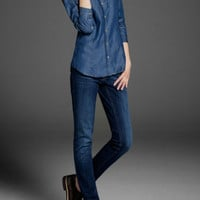 Denim Long-Sleeve Button Collared Shirt With Pockets