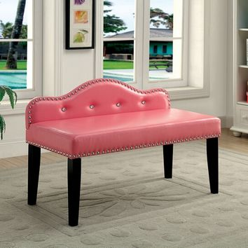 Gwenyth III collection Pink leatherette padded seat and back with crystal button tufted bedroom bench