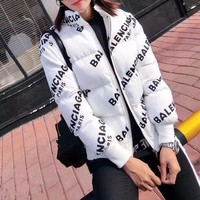 DCCK6HW Balenciaga' Women Simple Fashion Logo Letter Print Long Sleeve Zip Cardigan Cotton-padded Clothes Coat