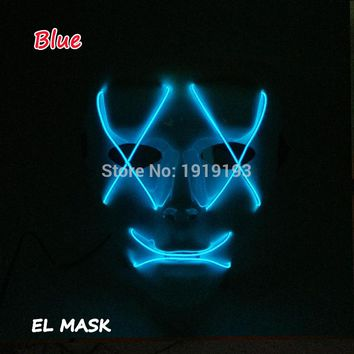 2018 New EL Wire Mask Glowing LED Neon Costume Flat mouth X eyes Mask for Scary Halloween Party Decoration with Sound Actived