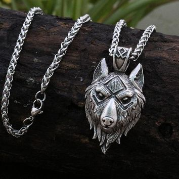 lanseis 1pcs viking wolf head  pendant norse wolf symbol men necklace Ancient silver jewelry
