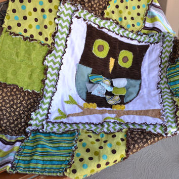 RAG QUILT, Owl Applique, Baby Boy Blue, Green, Brown Crib Blanket, Vintage, Ready to Ship