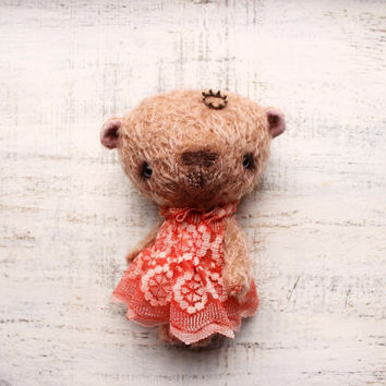 Princess bear OOAK teddy bear artist bear 7 1/2 inches brown coral red teddy bear girl