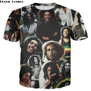 PLstar Cosmos Drop shipping 2018 Summer New Fashion 3d T-shirt Men/Women tshirt Reggae Bob Marley Collage Print Casual t shirt