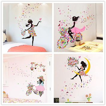 Fairy Girl Wall Stickers DIY Butterflies Mural Decals for Kids Room Baby Bedroom Dormitory Decoration Children Gift