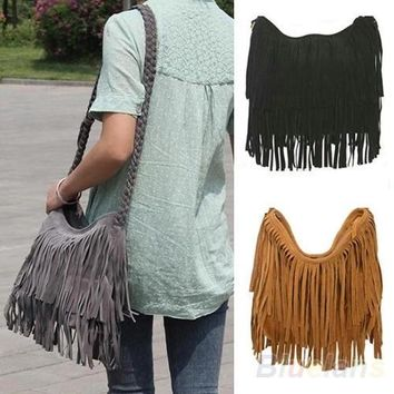 Day-First™ Women Lady Fringe Tassel Suede Shoulder Messenger Cross Body Satchel Bag Handbag, tote, women's fashion = 1652913476