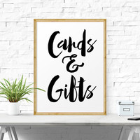 Cards And Gifts Print, Typography, Calligraphy, Reception Table, Wedding Decoration