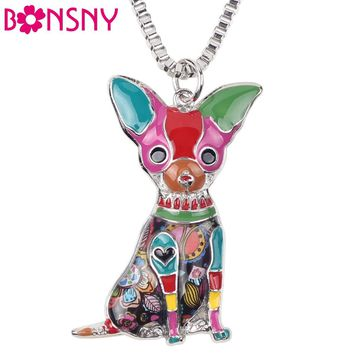 Bonsny Maxi Enamel Chihuahuas Dog Necklace