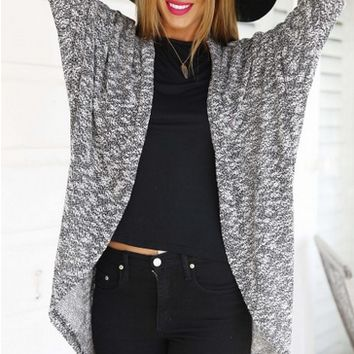 Grey Long-Sleeve Open-Front Cardigan
