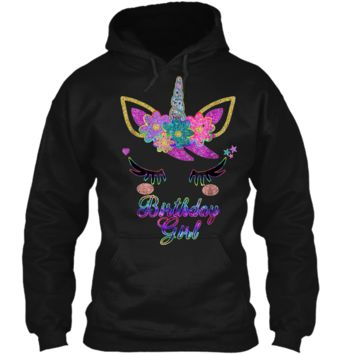 Rainbow Unicorn Birthday  Birthday Girl Outfit Pullover Hoodie 8 oz