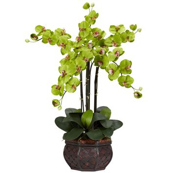 Artificial Flowers -Green Phalaenopsis With Decorative Vase Flower Arrangement