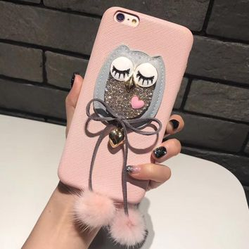 lovely kawaii cute Owl plush cover for apple iphone 6 6s plus 5.5  iPhone7 7P 8 8plus X soft mobile phone case capa shell