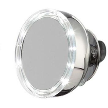 MV Stainless Steel LED Suction Cup Cosmetic Makeup Round 5X Magnifying Mirror