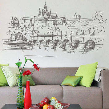 Prague Skyline Wall Decals Prague Wall Decals Cityscape Prague Wall Decals Czech Republic Wall Decals kik2407