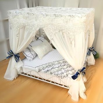 Iron pet bed pet nest teddy bear dog house pet bed Princess bed  eluxe court bed