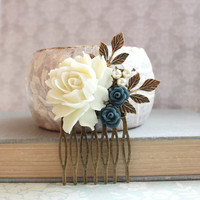 Cream Rose Comb Dark Blue Navy Rose Hair Comb Bridal Hair Piece Antique Gold Leaf Leaves Beach Wedding Nature Inspired Country Romantic